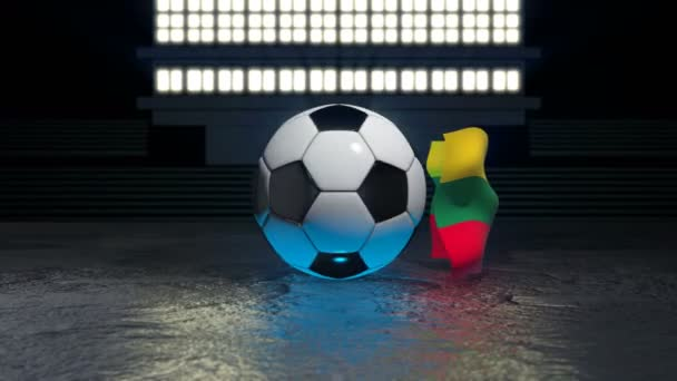 Lithuania flag flies around a soccer ball revolving around its axis