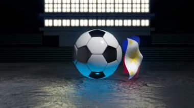 a09449530 Philippines Flag Flies Soccer Ball Revolving Its Axis Video Clip