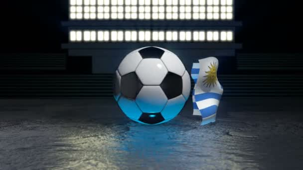 Uruguay flag flies around a soccer ball revolving around its axis