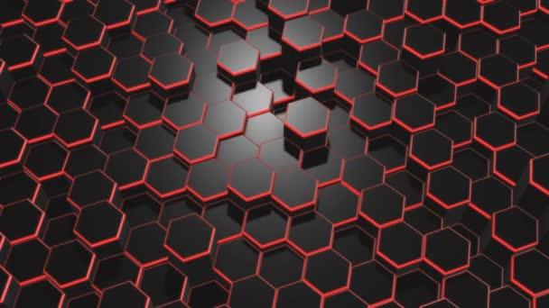 schwarzer abstrakter Hintergrund von zufällig bewegten Sechsecken mit roter Hintergrundbeleuchtung an den Seiten