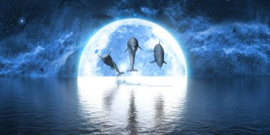 group of dolphins jumping out of the water against the background of the big moon, 3d illustration