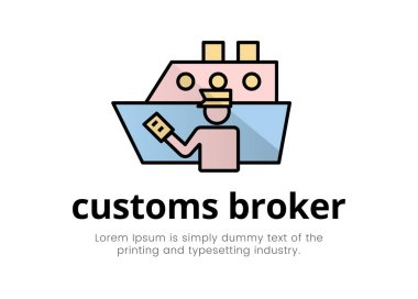 Finance. Financial services. Illustration of a silhouette logo of a man in the form of a customs broker with a document in hand near a cargo ship, text lettering customs broker