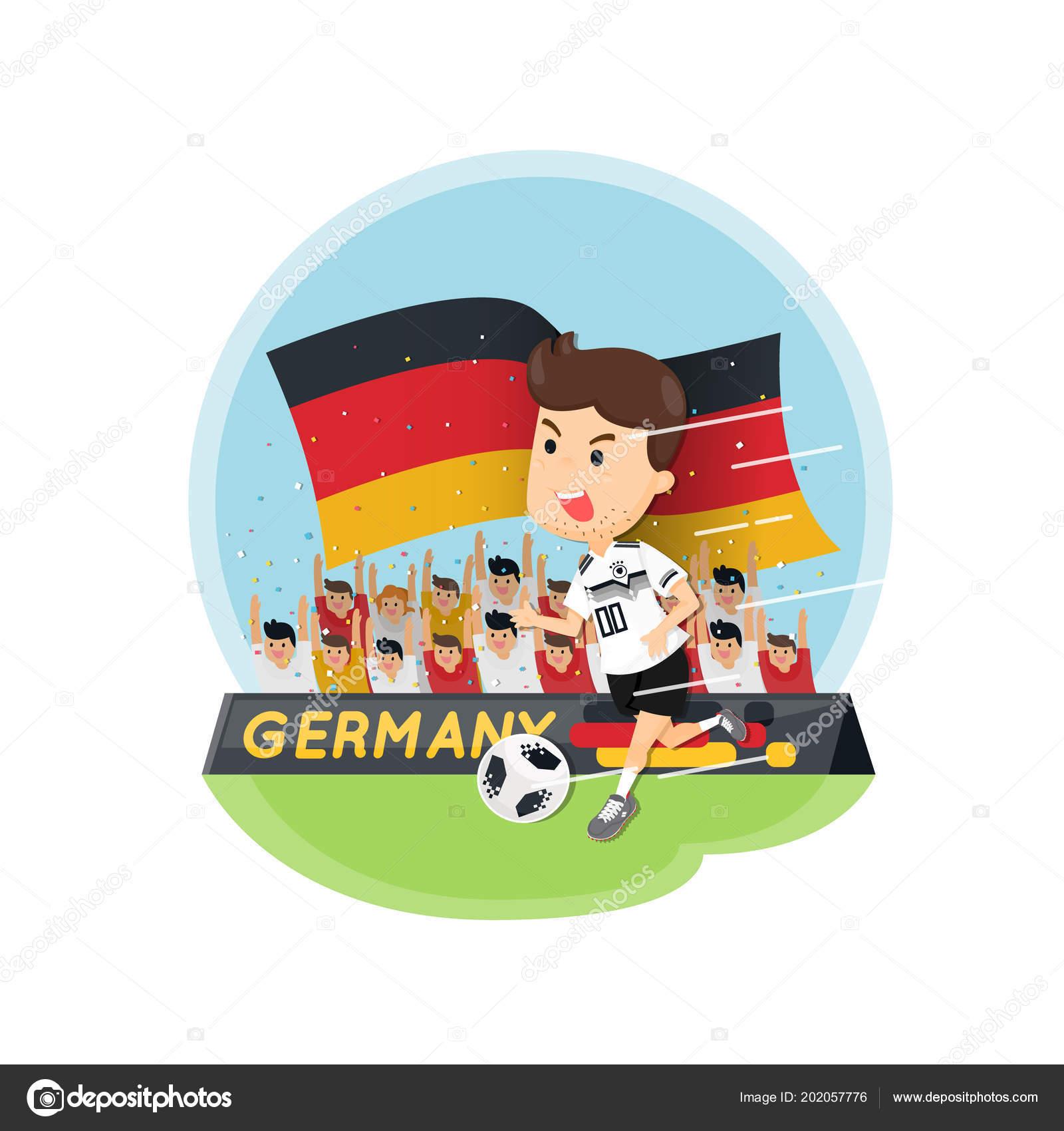 Comicfigur Deutschlands Fussball Spieler Mit Fussball Fans