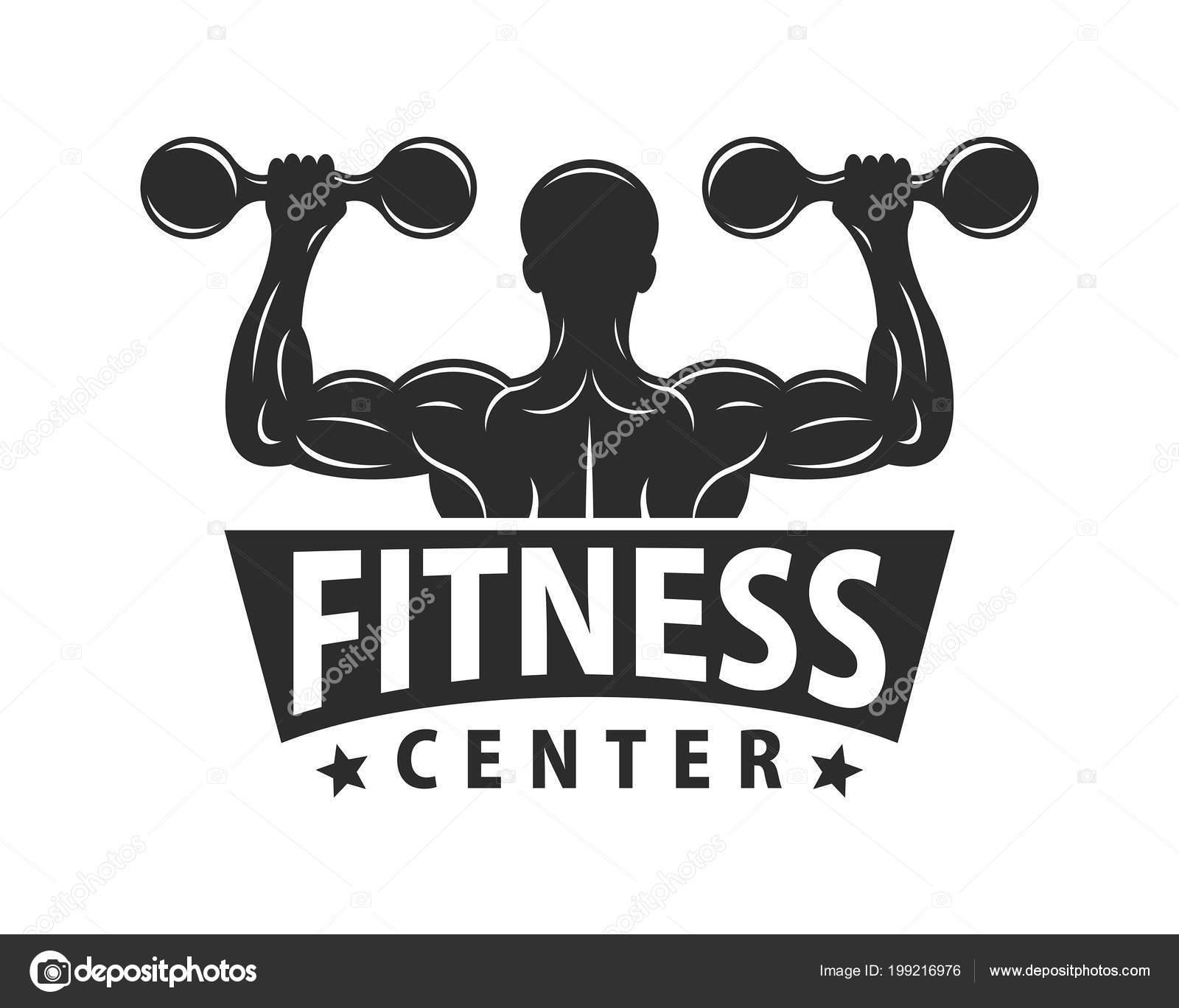 Gym Logo Template Bodybuilding Fitness Club Monochrome Style ...