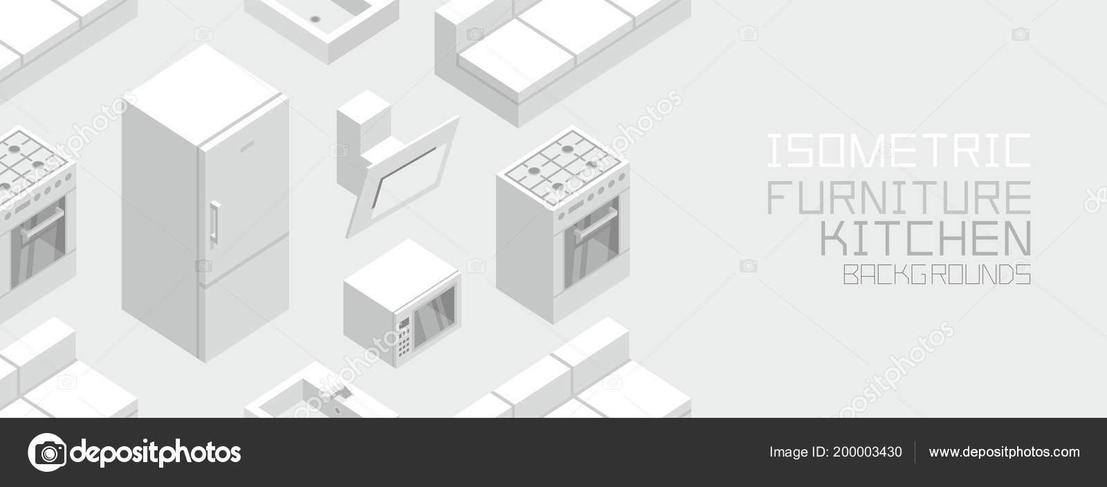 Isométrica Muebles Cocina Estilo Plano Aislado Sobre Fondo Gris ...