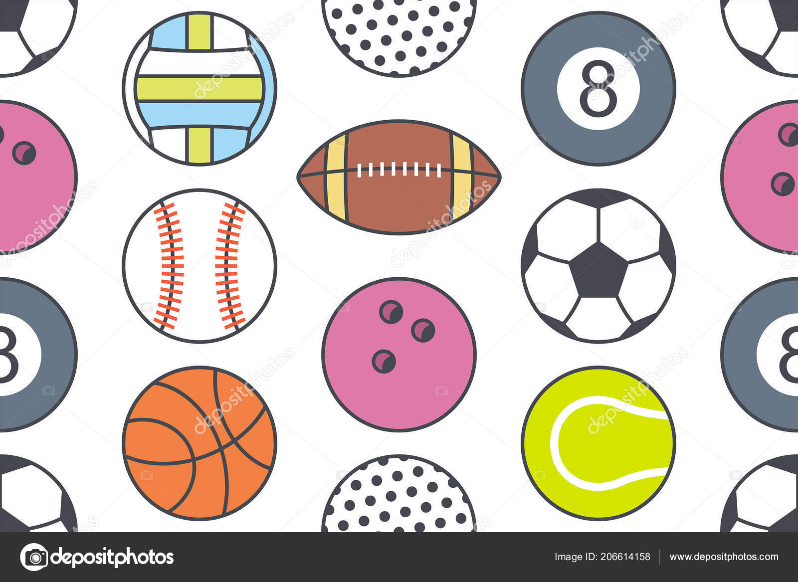Seamless Pattern Collection Sports Balls Line Style Isolated White Background Stock Vector
