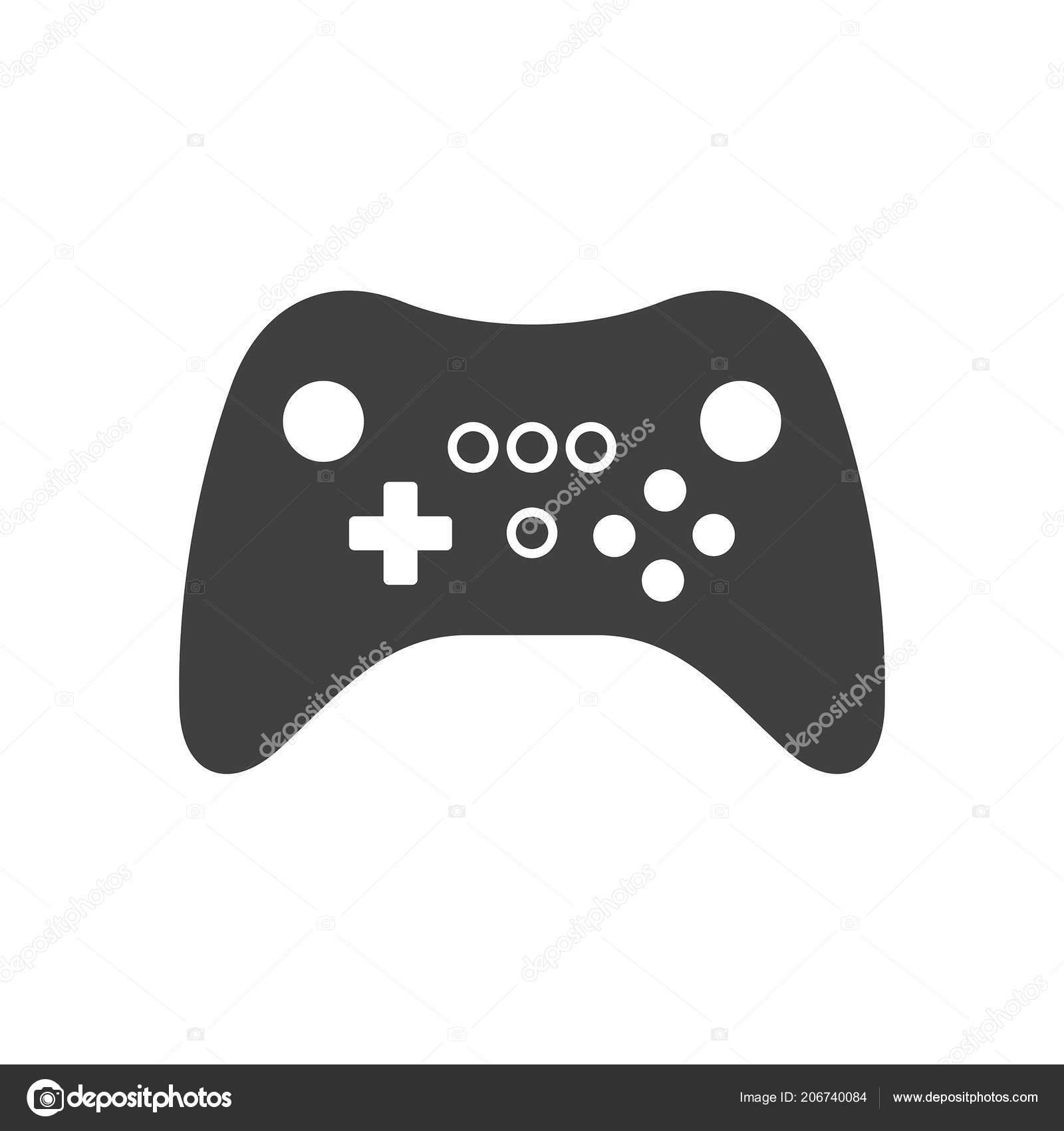 Video Spiel Joystick Symbol Silhouette Schwarz Isoliert Auf Weissem