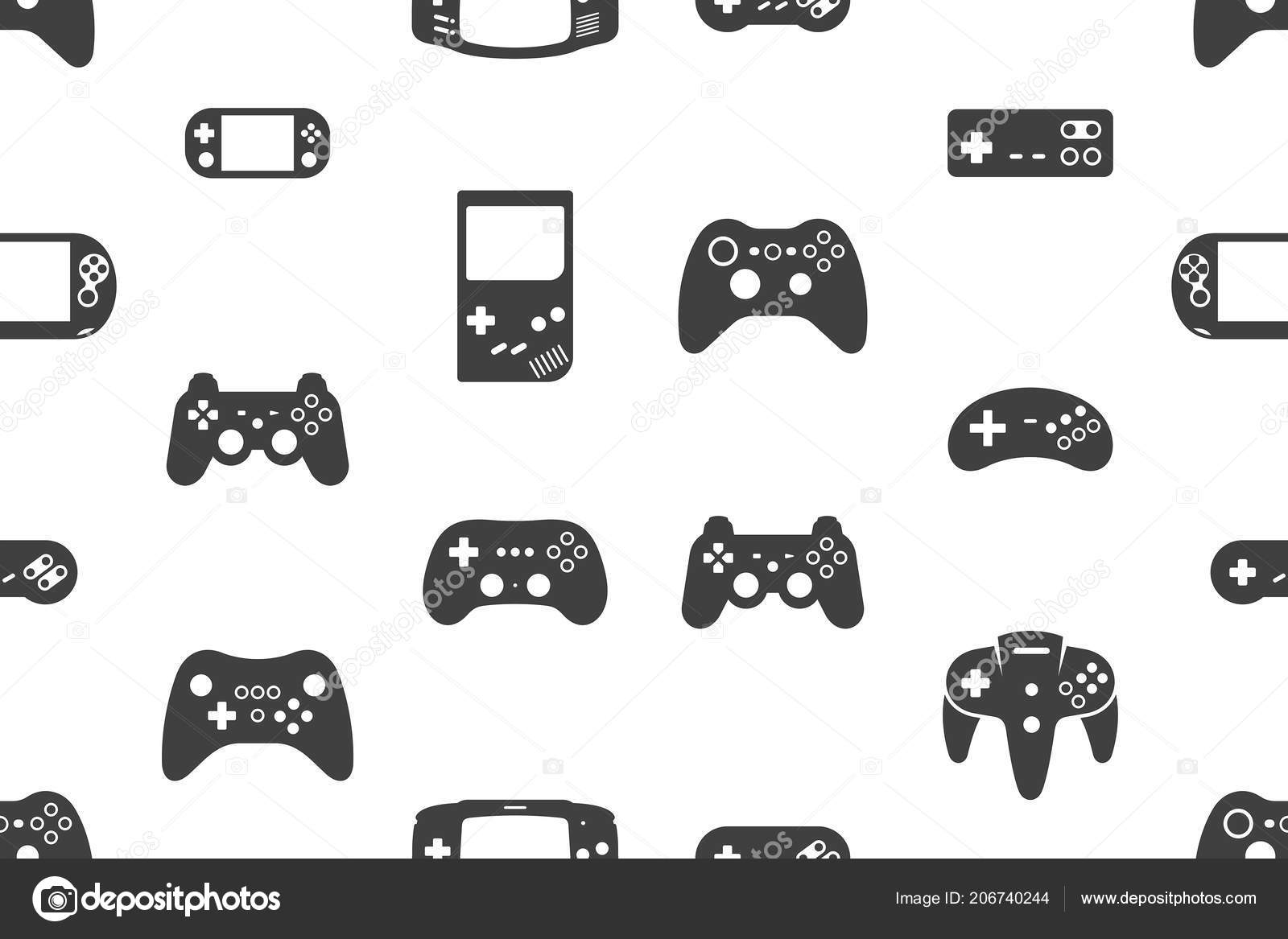 Seamless Pattern Video Games Joystick Silhouette Black Isolated