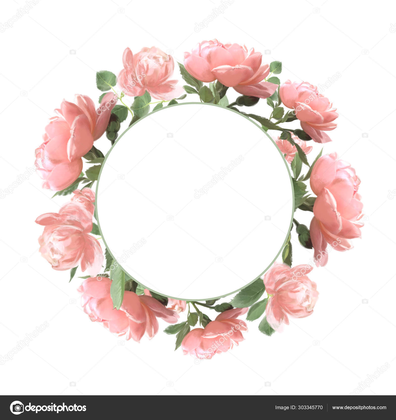 Beautiful Pink Roses Wreath Clipart Vintage Floral Frame Wreath