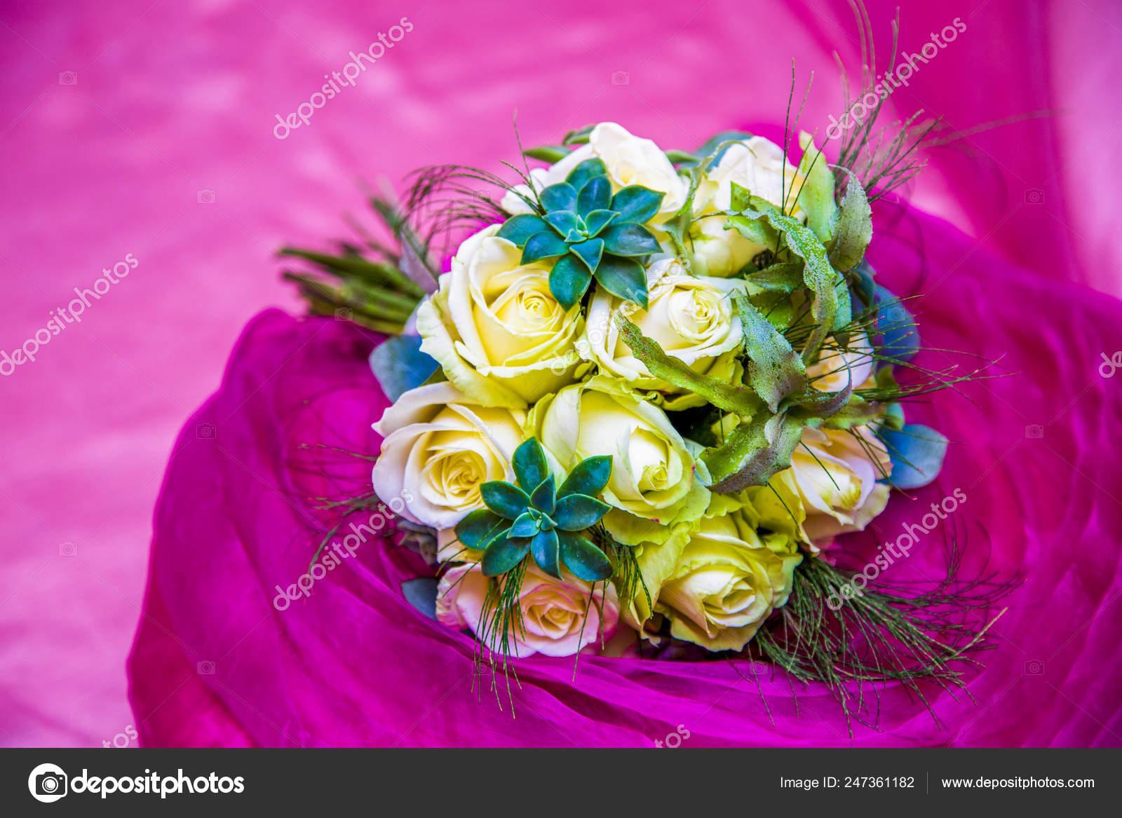 Bouquet White Roses Succulents Pink Background Stock Photo C Kiyechka 247361182