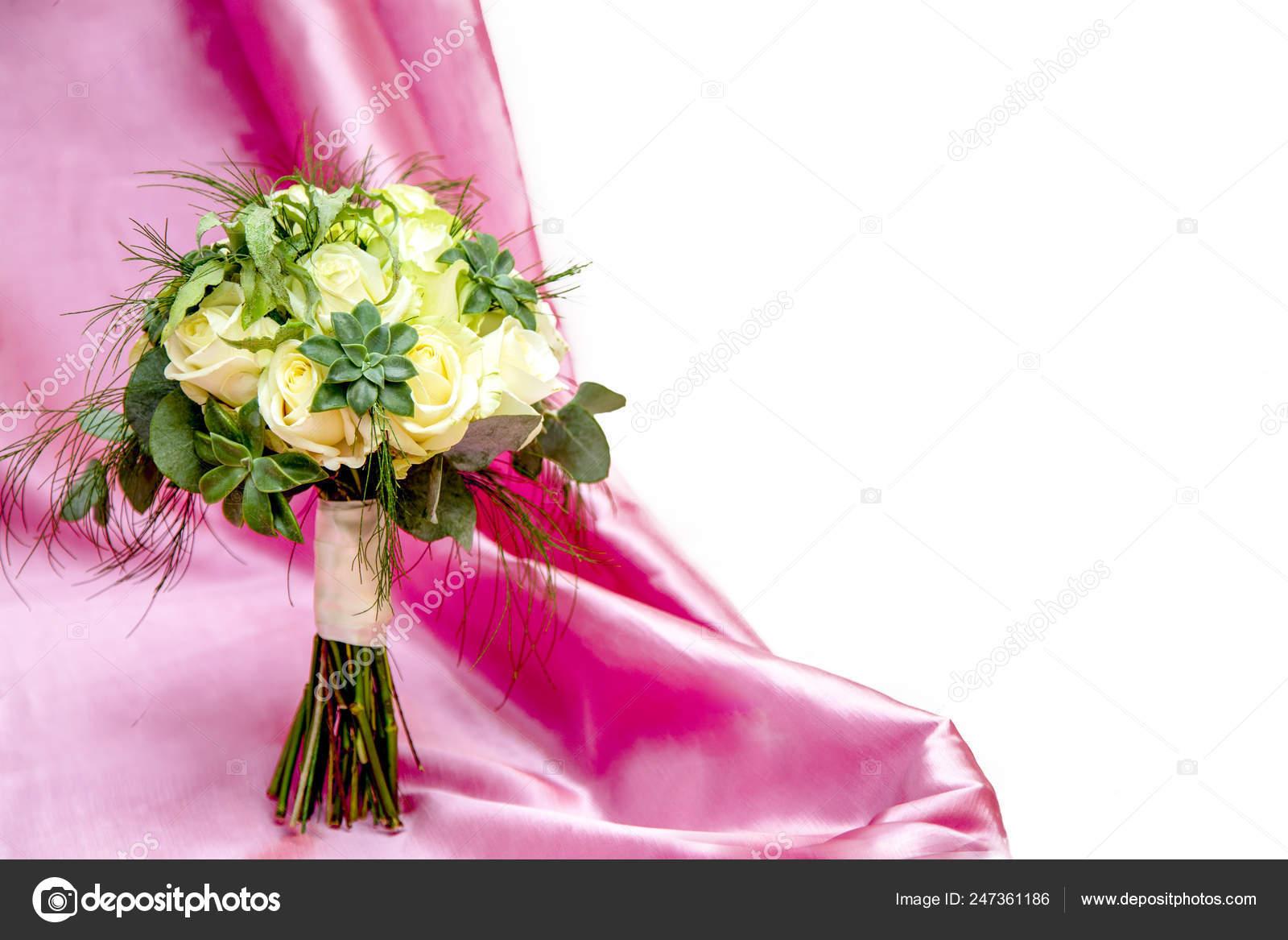 Bouquet White Roses Succulents Background Pink Silk Fabric White Space Stock Photo C Kiyechka 247361186