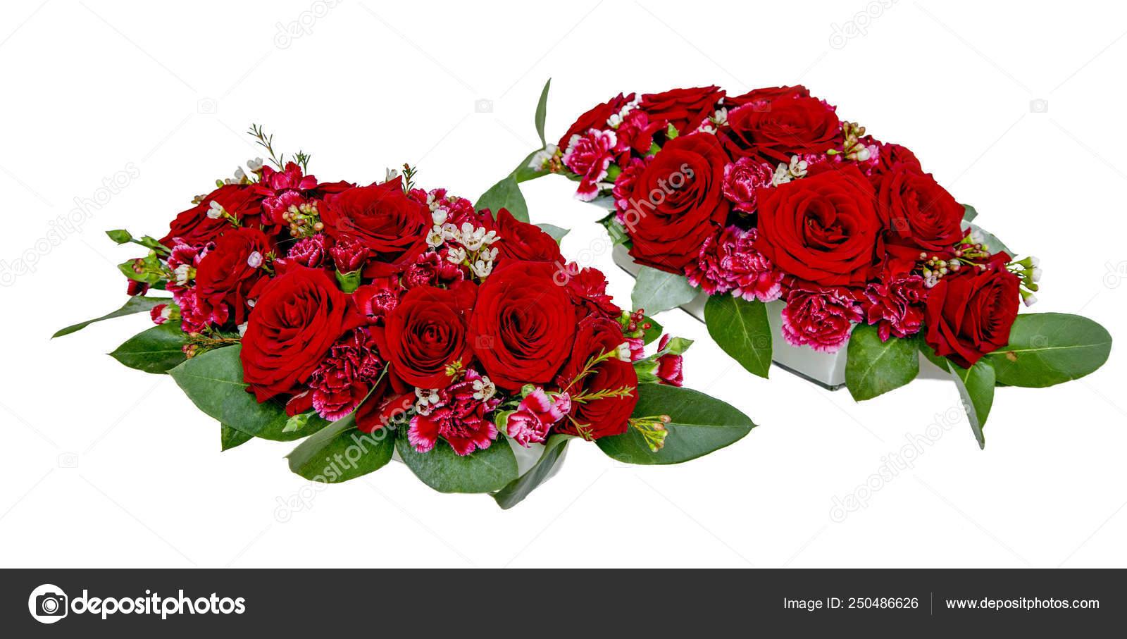 Arreglos Florales Rosas Rojas Claveles Para Decoración Mesa