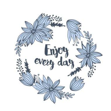 Decorative graphic doodle flower print