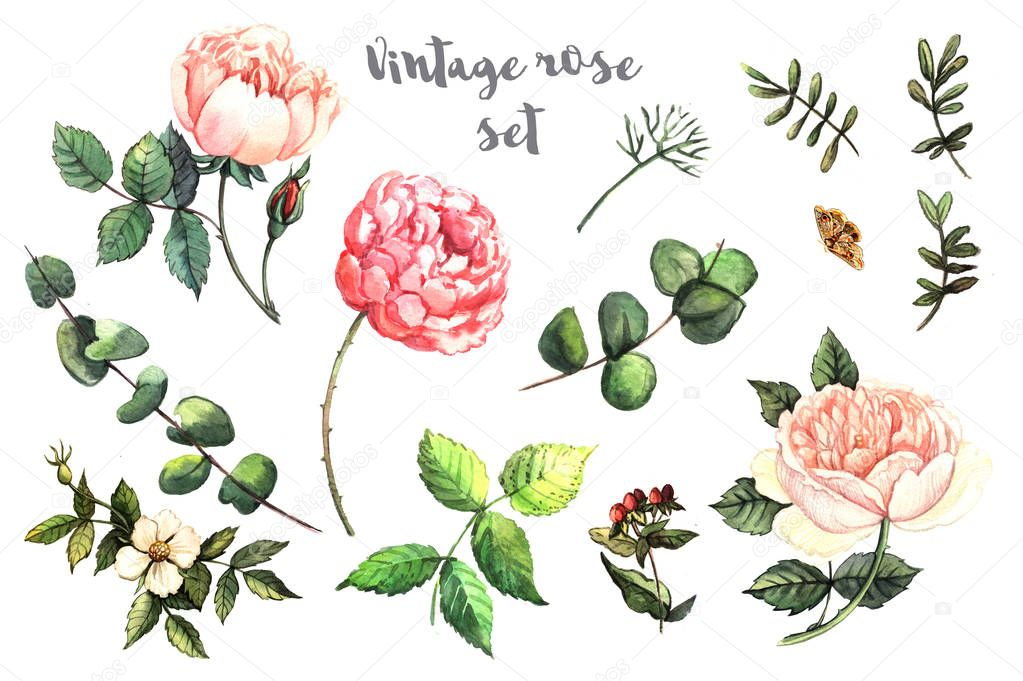Watercolor decorative flowers pattern
