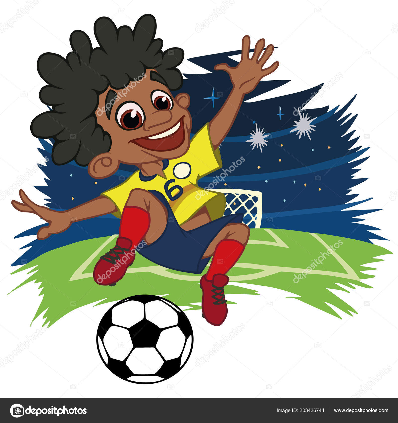 A cartoon soccer player is playing ball in a stadium in uniform Colombia.  Vector illustration– stock illustration e7c33cc69