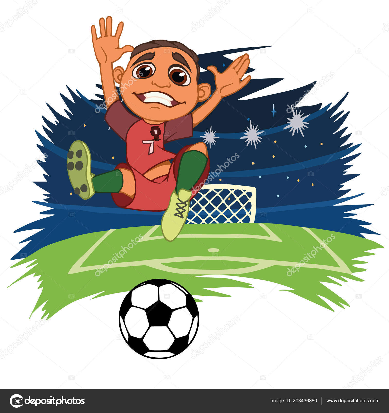20867e6a9 A cartoon soccer player is playing ball in a stadium in uniform Portugal. Vector  illustration– stock illustration