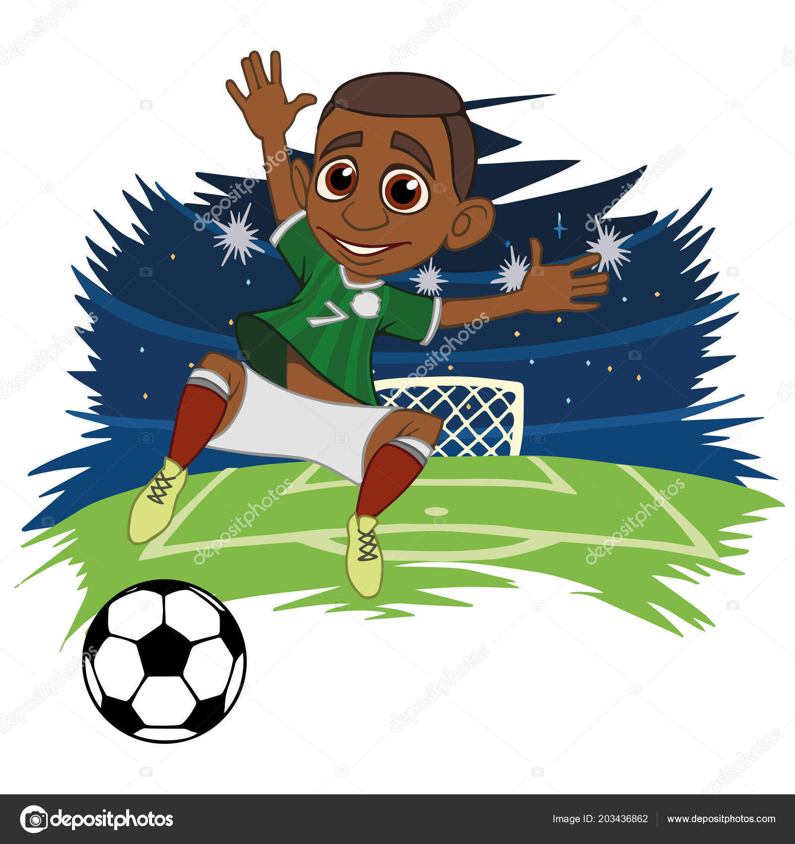 ce801430a81 A cartoon soccer player is playing ball in a stadium in uniform Mexico.  Vector illustration — Vector by ...