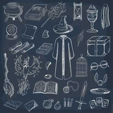 Collection to play a wizard. Things magician: wizard, hat, magic book, scroll, potion, broom, crystal ball, snitch, mantle, sword, cup, ring, chest, fang, Phoenix, hourglass, mantle of invisibility, cards. Magic things in chalk style