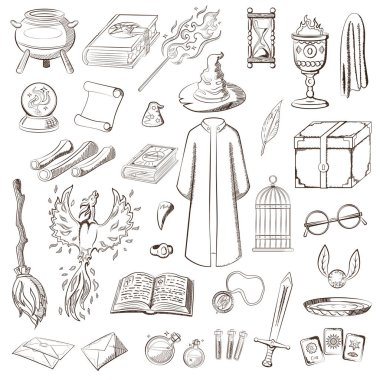 Big set to play a wizard. Things magician: wizard, hat, magic book, scroll, potion, broom, crystal ball, mantle, sword, cup, ring, chest, fang, etc. For coloring book