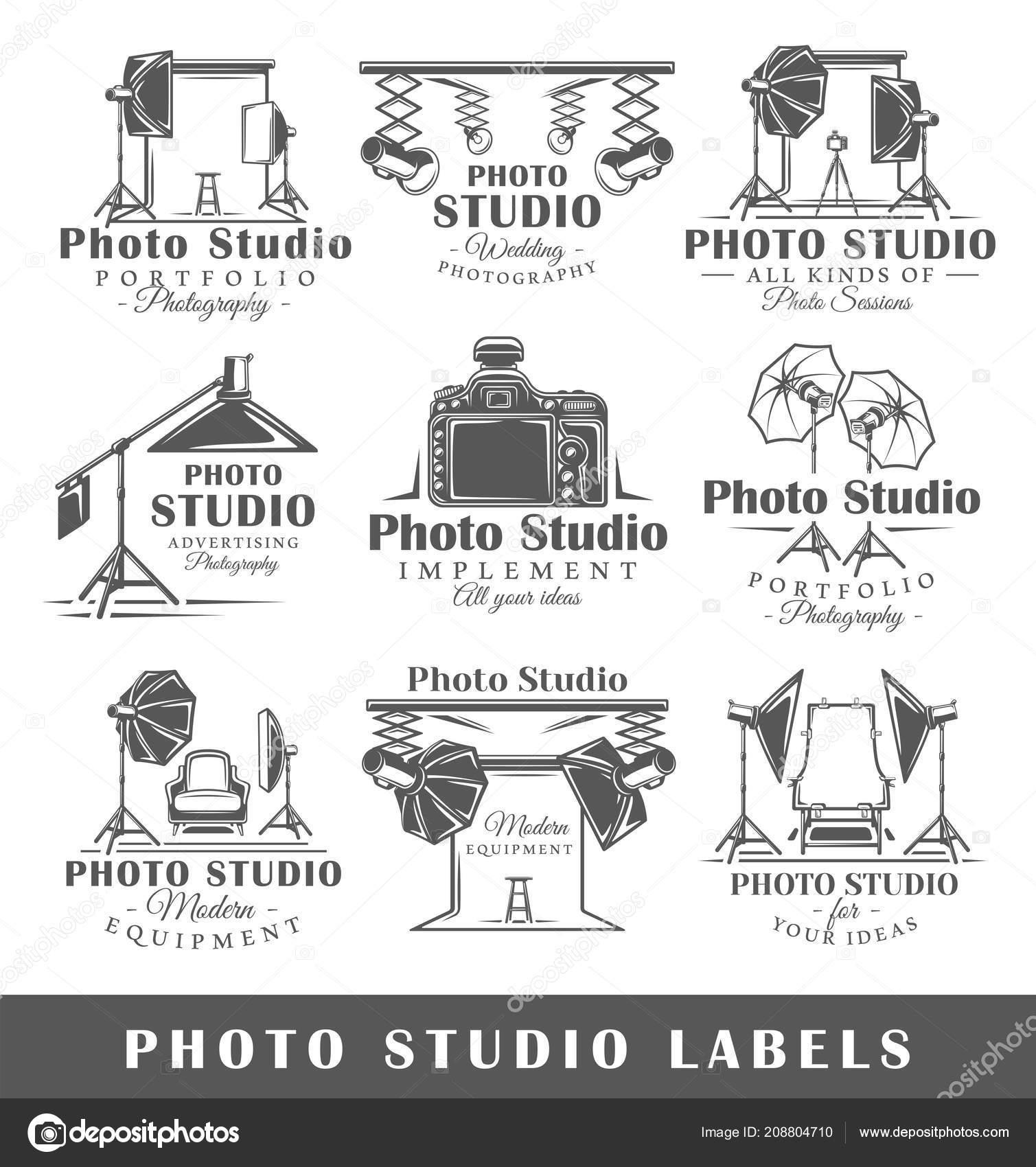 Set Vintage Photo Studio Labels Templates Design Logos Emblems ...
