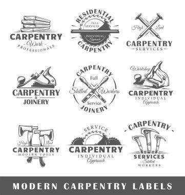 Set of modern carpentry labels