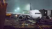 Fotografia vista di aerei in aeroporto nebbioso illuminata di notte