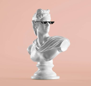renaissance statue with pixel sunglasses on pink background
