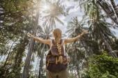 zadní pohled na dívku s batoh stojící palmami