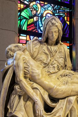 A replica of the famous statue of La Pieta inside the Manila Cathedral, first built in 1571, todays church is the eighth structure with the others destoryed by national desasters and war.  The present cathedral was built from 1953 to 1958. Intramuros