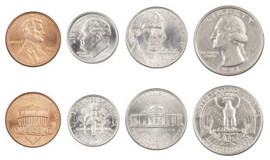 Four most commonly used American Coins isolated on white backgro