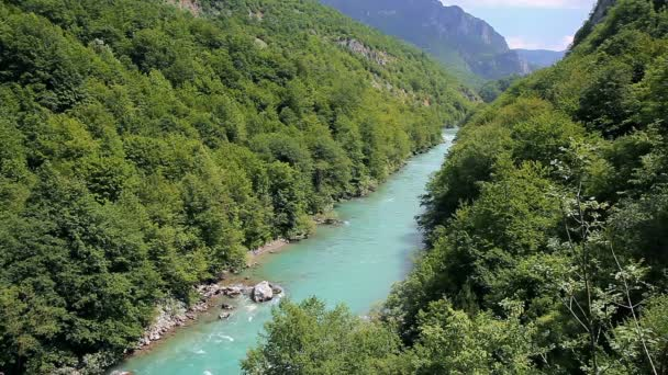 Mountain River Flowing Through A Canyon. Mountain landscape with river and forest. Panoramic view of river flow in mountains.