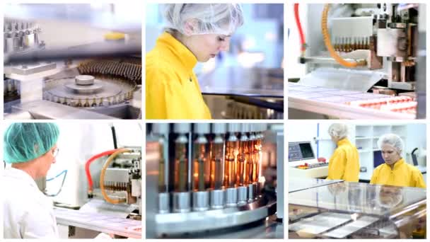Vaccine Manufacturing Multi-screen Video. Pharmaceutical workers on the production line.Pharmaceutical Machines for Drug Manufacturing.