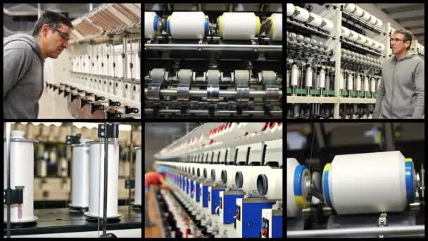 Textile Fabric Manufacturing Machines in Work - Multi Screen Video. Automated Yarn Production in Modern Textile Plant.Supervisor Meeting With Engineer on Production Line.