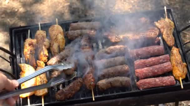 Csirke, marha-és sertéshús darabok pörkölt a szén grill. Kültéri pörkölés a grill. Lédús szelet hús egy grill. Grillsütő Delicious grillezett hús grill. Grill Party.