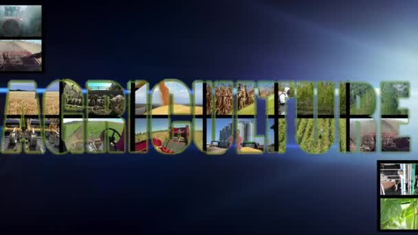 Zemědělství - Multimédia Video Wall Montage. Zemědělská výroba Multi Screen Video. Zemědělci na různých sezónních zemědělských pracích na poli. Zemědělství Animovaný text slovo na černém pozadí.