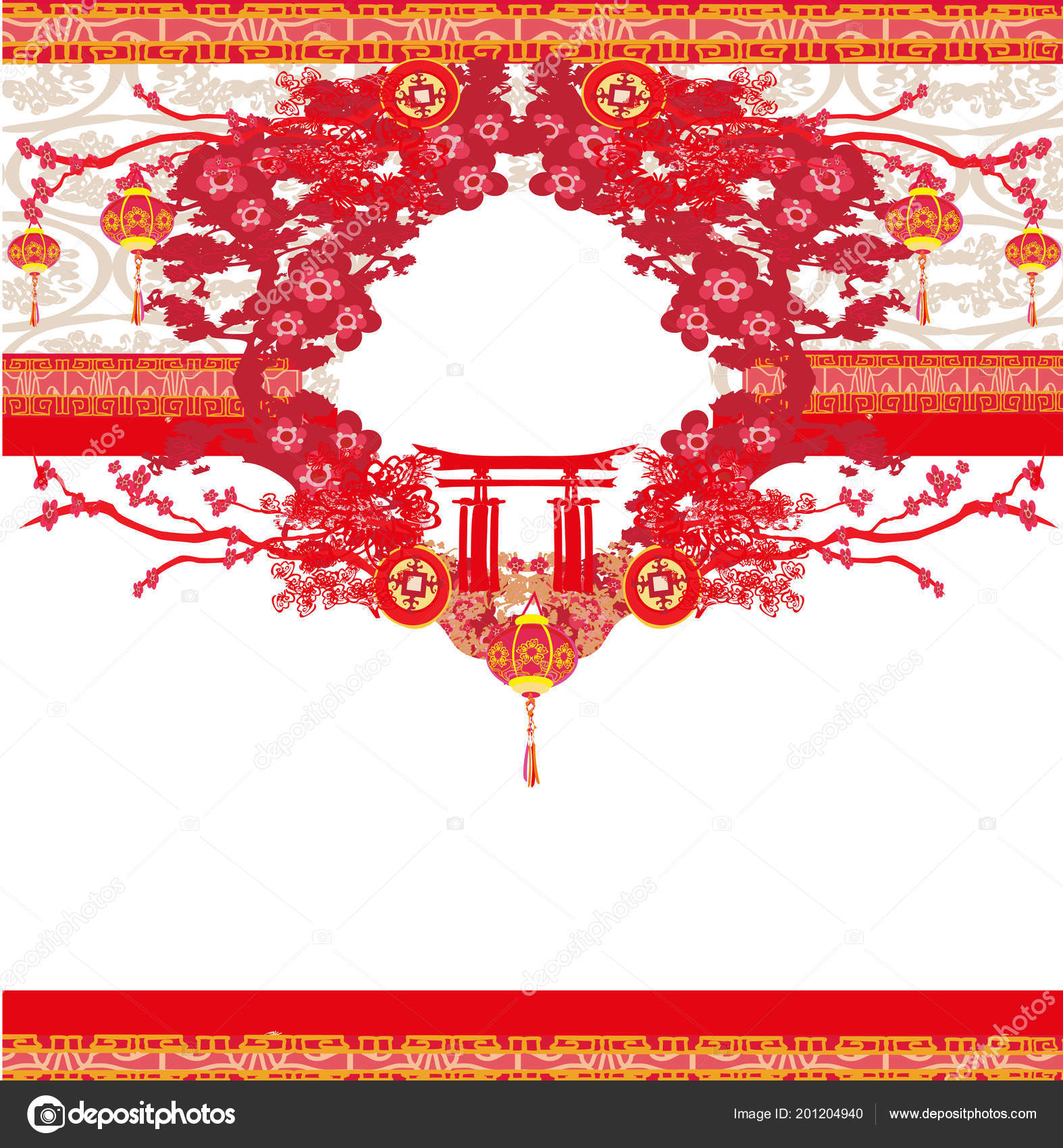 Mid Autumn Festival Chinese New Year Card — Stock Vector ...