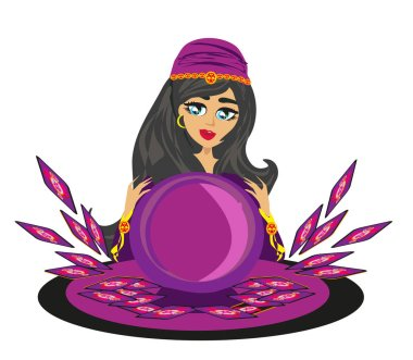 Fortune teller woman with magic ball