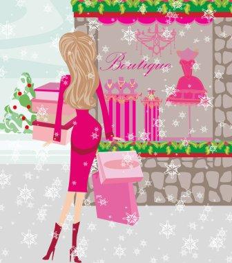 fashionable woman on winter shopping