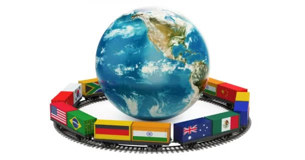 Globális áru logisztika, vasúti fogalom, animáció 3d-leképezés