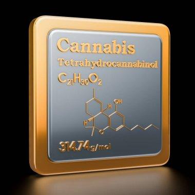 Cannabis, marijuana or tetrahydrocannabinol. Icon, chemical formula, molecular structure. 3D rendering