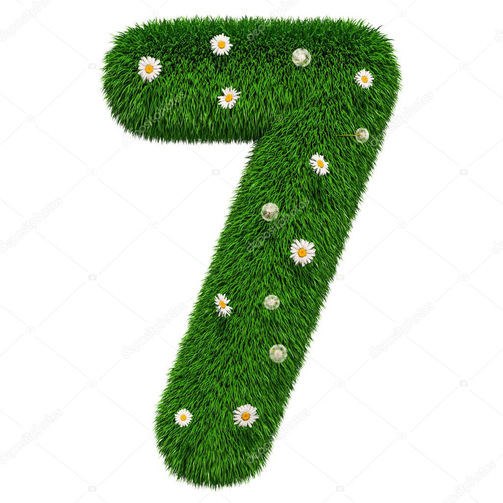 number 7 from grass with flowers, 3D rendering isolated on white background
