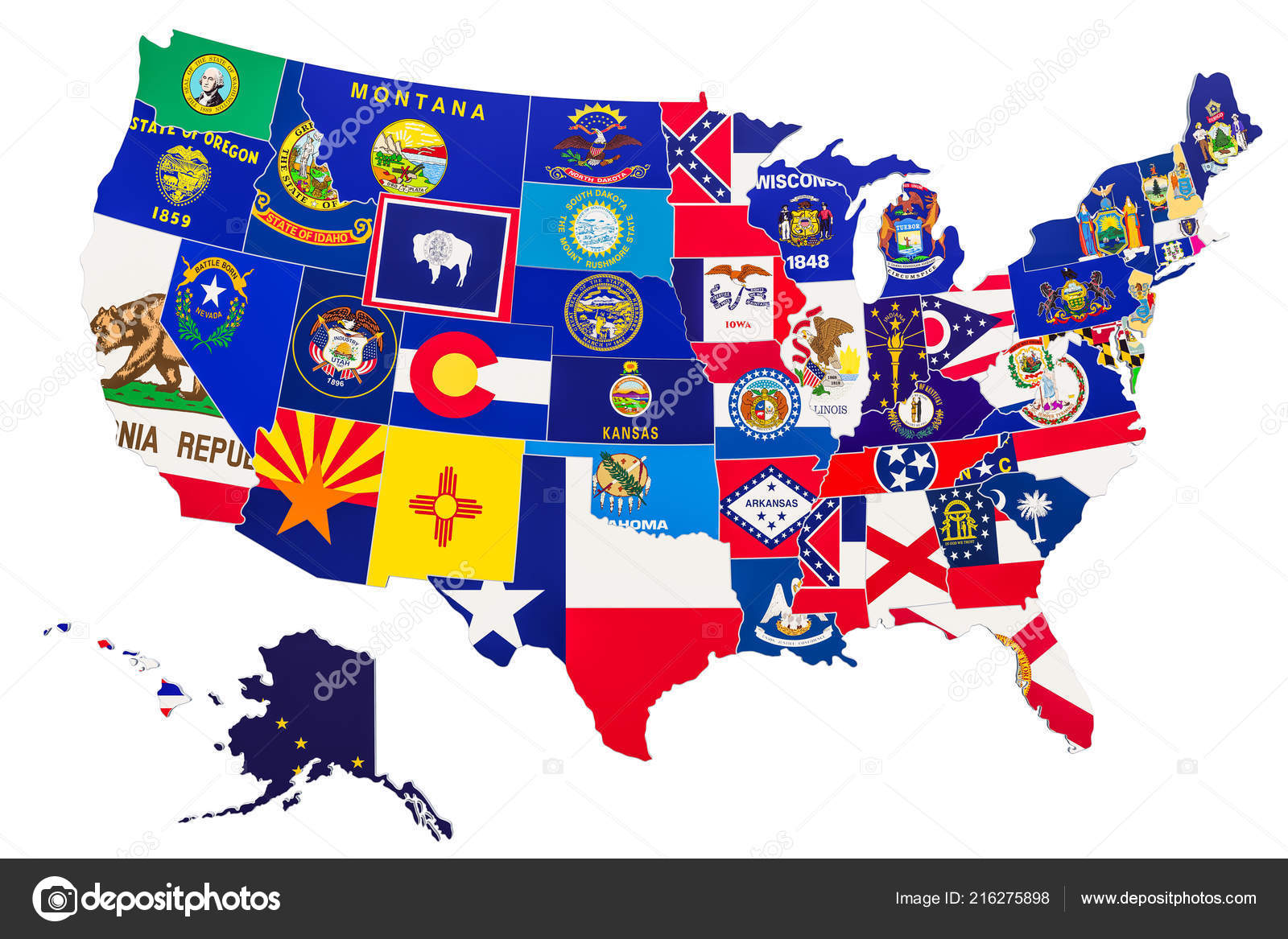 United State Of America Map.United States America Map State Flags Rendering Isolated White