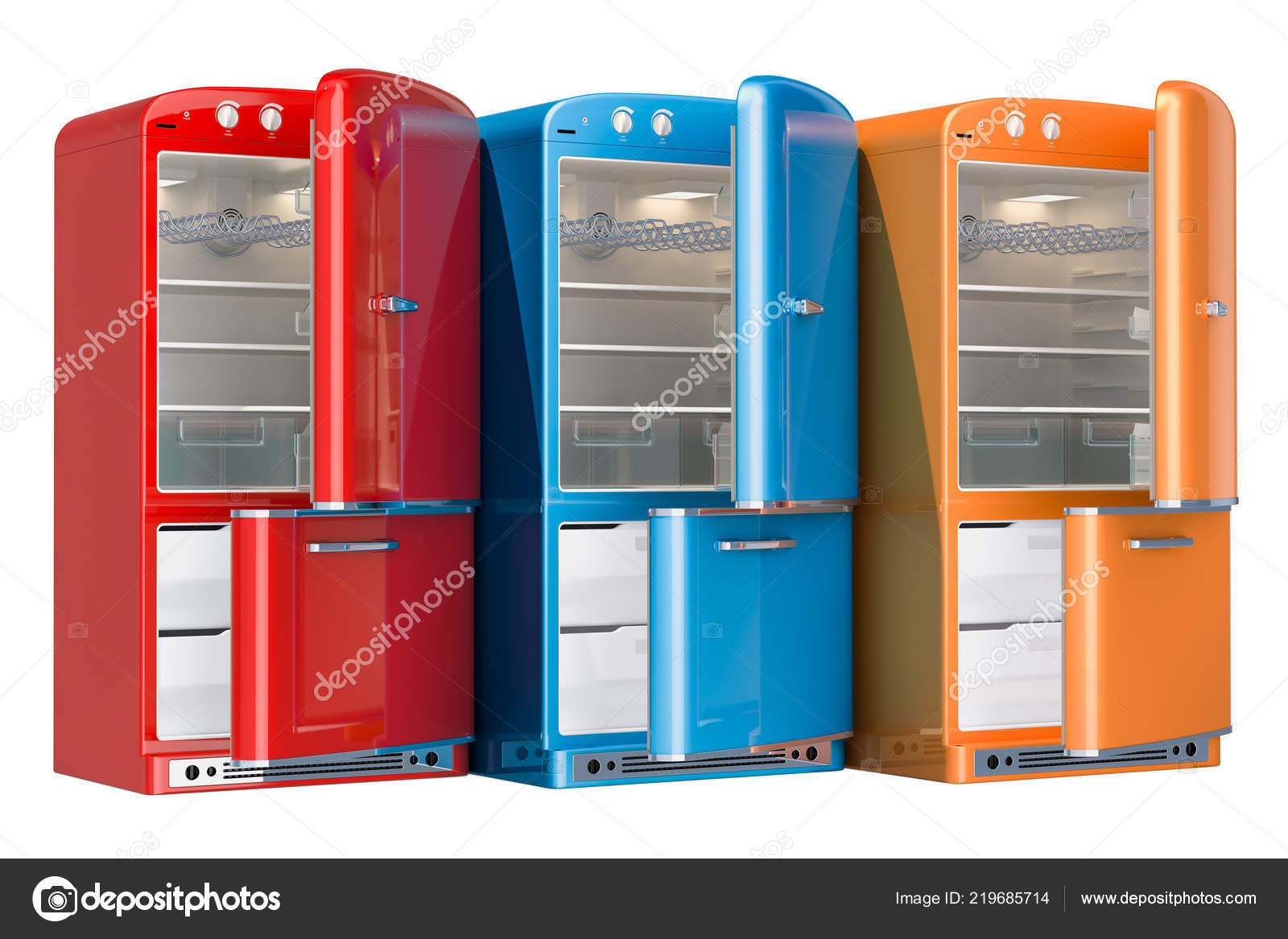 Kühlschrank Usa Retro : Farbige kühlschränke retro design eröffnet rendering isoliert auf