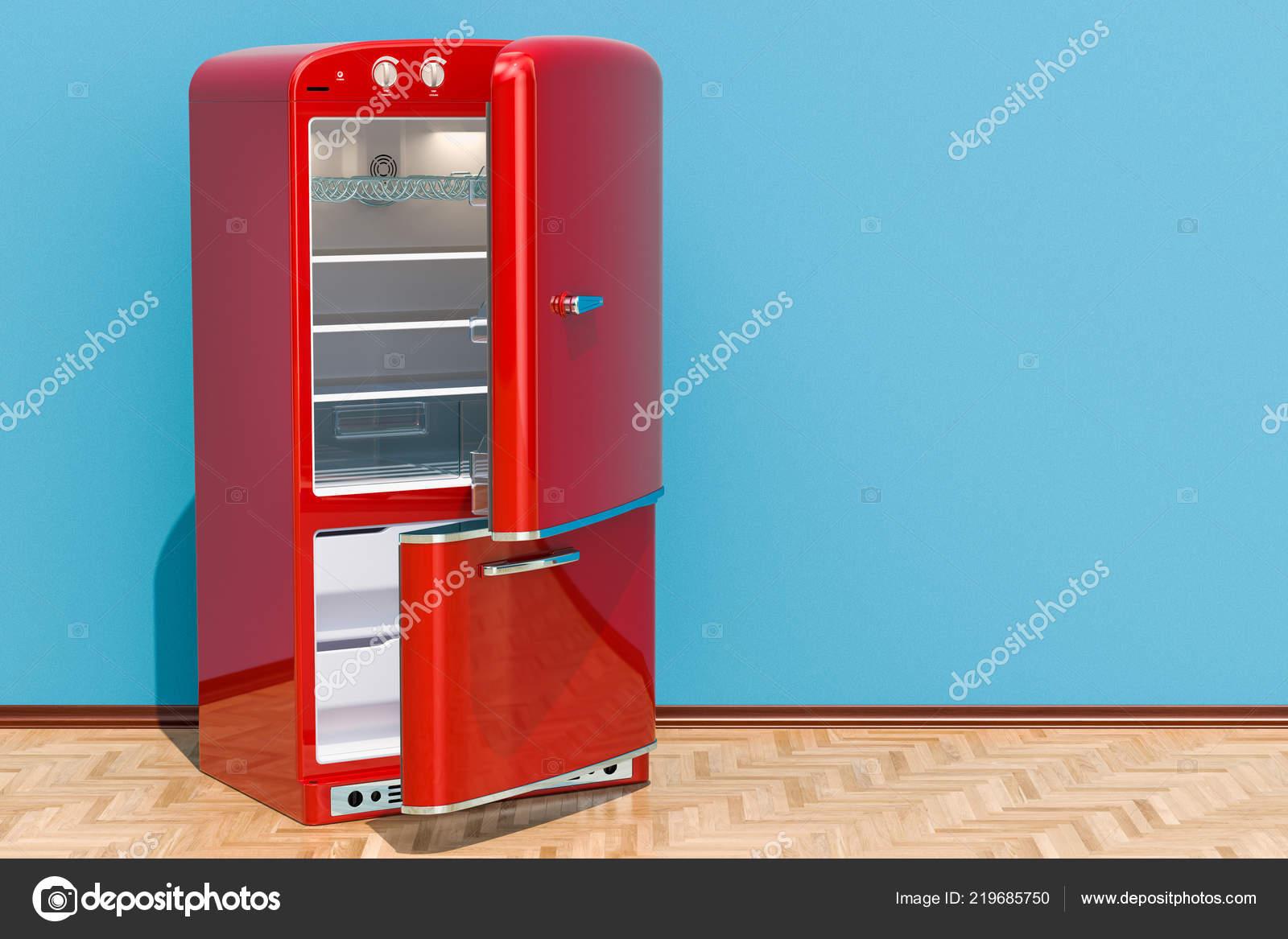 Kühlschrank Vintage Design : Rot kühlschrank retro design zimmer auf dem holzboden rendering