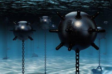 Underwater mines, naval mines. 3D rendering