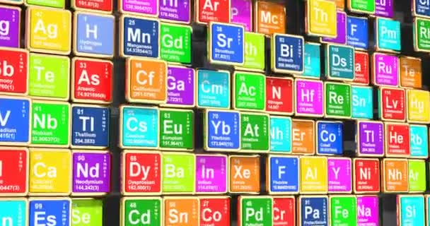 Farbiges Periodensystem der Elemente 3D-Video, Schleifenanimation. 3D-Darstellung