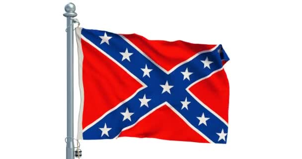 Flag of the Confederate States of America waving on white background, animation. 3D rendering