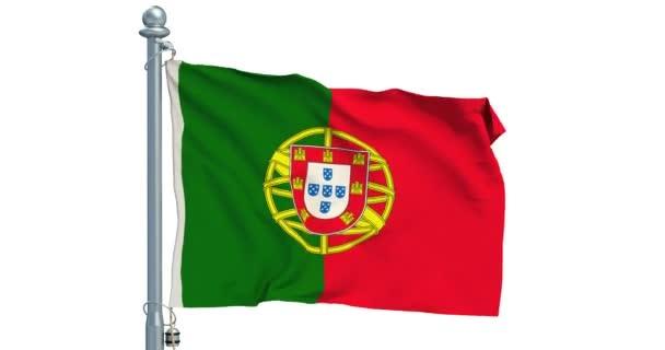 Portugál zászló integet a fehér háttér, az animáció. 3D-leképezés