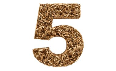 Number 5 from bullets, 3D rendering isolated on white background