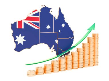 Economic growth in Australia concept, 3D rendering